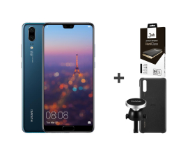 Smartfon / Telefon Huawei P20 64GB Niebieski+ Car Kit + 3mk Hard Glass