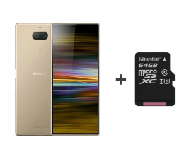 Smartfon / Telefon Sony Xperia 10 Plus I4213 4/64GB Dual SIM złoty + 64GB