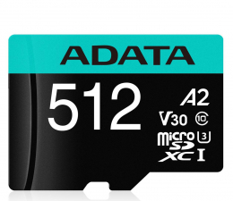 Karta pamięci microSD ADATA 512GB microSDXC Premier Pro 100MB/s U3 V30S A2