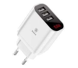 Ładowarka do smartfonów Baseus Ładowarka sieciowa 3x USB, 2.4A (biały)