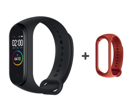 Smartband Xiaomi Mi Band 4 czarny + Mi Band 4 Strap Orange