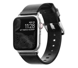 Pasek / bransoletka Nomad Pasek Skórzany do Apple Watch czarno-srebrny
