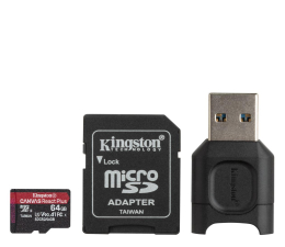 Karta pamięci microSD Kingston 64GB Canvas React Plus 285MB/165MB (odczyt/zapis)
