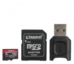 Karta pamięci microSD Kingston 128GB Canvas React Plus 285MB/165MB (odczyt/zapis)