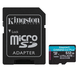 Karta pamięci microSD Kingston 512GB Canvas Go! Plus 170MB/90MB (odczyt/zapis)