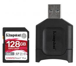 Karta pamięci SD Kingston 128GB Canvas React Plus 300MB/260MB/s