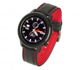 Smartwatch Garett Men 5S czarno-czerwony (skórzany)