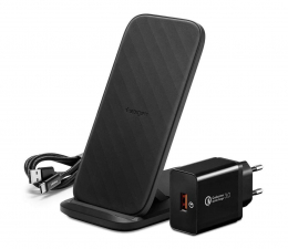 Ładowarka do smartfonów Spigen Ładowarka Indukcyjna F316W Stand 15W QC 3.0 czarny