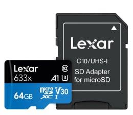 Karta pamięci microSD Lexar 64GB microSDXC High-Performance 633x UHS-I A1 V30