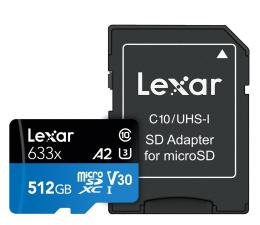 Karta pamięci microSD Lexar 512GB microSDXC High-Performance 633x UHS-I A2 V30