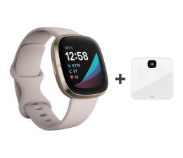 Smartwatch Fitbit Sense złoto beżowy + Aria Air white