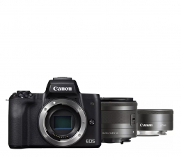 Bezlusterkowiec Canon EOS M50 czarny+ M15-45mm F3.5-6.3 IS STM+ M22mm