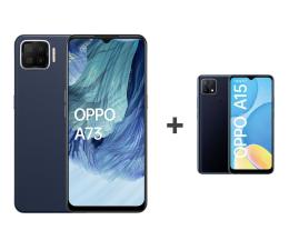 Smartfon / Telefon OPPO A73 4/128GB AMOLED NFC Granatowy+A15 2/32GB Czarny