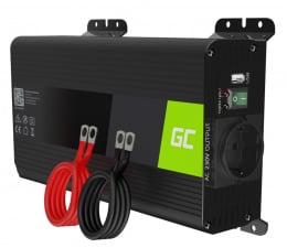 Przetwornica samochodowa Green Cell Inwerter PRO 12V na 230V 500W/1000W czysta sin.