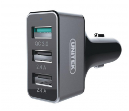 Ładowarka do smartfonów Unitek Ładowarka Samochodowa 2 x USB 2.4A + QC 3.0 42W