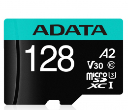 ADATA 128GB Premier Pro U3 V30S A2 + adapter  (AUSDX128GUI3V30SA2-RA1)