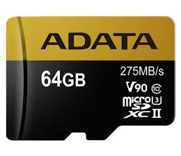 ADATA 64GB microSDXC zapis 155MB/s odczyt 275MB/s (AUSDX64GUII3CL10-CA1)