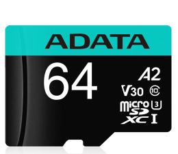 ADATA 64GB Premier Pro U3 V30S A2 + adapter  (AUSDX64GUI3V30SA2-RA1)