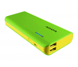 ADATA Power Bank PT100 10000 mAh 2.1 zielony/żółty (APT100-10000M-5V-CGRYL)