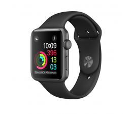 Apple Watch 38/Space Gray Aluminium/Black Sport Band (MP022MP/A)