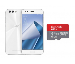 ASUS ZenFone 4 ZE554KL 4/64GB DS biały + 64GB (ZE554KL-6B011WW+SDSQUAR-064G-GN6MA)