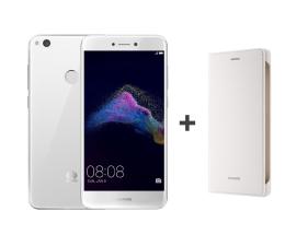 Huawei P9 Lite 2017 DS biały + Etui z Klapką białe (PRA-LX1 WHITE + 51991959)