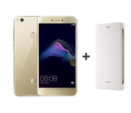Huawei P9 Lite 2017 DS złoty + Etui z Klapką białe  (PRA-LX1 GOLD + 51991959)
