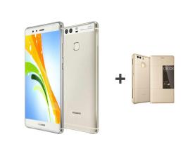 Huawei P9 Srebrny + Etui z Klapką złote (299623 + 300432)