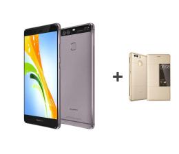 Huawei P9 Tytanowy + Etui z Klapką złote  (299619 + 300432)