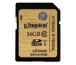 Kingston 16GB SDHC UHS-I Class10 zapis 45MB/s odczyt 90MB/s (SDA10/16GB)