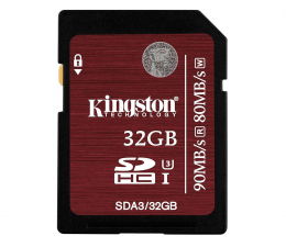 Kingston 32GB SDHC UHS-I U3 zapis 80MB/s odczyt 90MB/s  (SDA3/32GB)