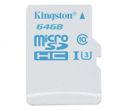 Kingston 64GB microSDXC UHS-I U3 zapis 45MB/s odczyt 90MB/s (SDCAC/64GB)
