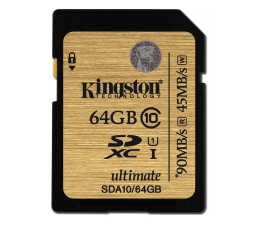 Kingston 64GB SDXC UHS-I Class10 zapis 45MB/s odczyt 90MB/s (SDA10/64GB)