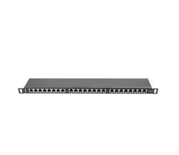 """Lanberg Patchpanel 24p 19"""" 0,5U FTP 6 półka (czarna)  (PPS6-0024-B)"""