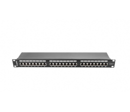"""Lanberg Patchpanel 24p 19"""" 1U FTP 6 półka (czarna)  (PPS6-1024-B)"""
