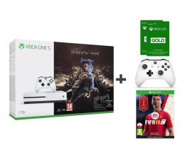 Microsoft Xbox One S 1TB Shadow Of War+PAD+FIFA 18+GOLD 6M