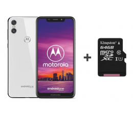 Motorola One 4/64GB Dual SIM biały + etui + 64GB (PAD40021PL (XT1941-4) + SDCS/64GB)