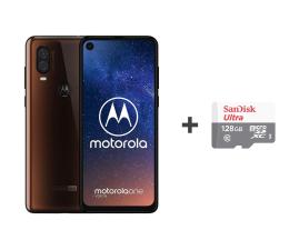 Motorola One Vision 4/128GB DS brązowy + etui + 128GB (PAFB0009PL (XT1970) + SDSQUNS-128G-GN6TA)
