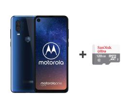Motorola One Vision 4/128GB DS niebieski + etui + 128GB (PAFB0011PL (XT1970) + SDSQUNS-128G-GN6TA)