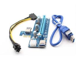 Qoltec Riser PCi-E 1x-16x USB 3.0 SATA/ PCI-E 6pin (55501)