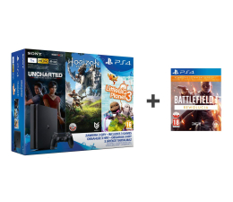 Sony Playstation 4 1TB Slim+Horizon+Uncharted ZG+2GRY (E-Chassis + Battlefield 1 Rewolucja + LBP3)