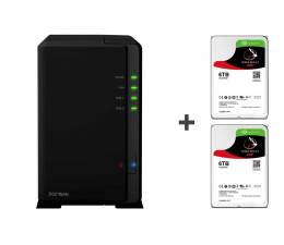 Synology DS218play 12TB(2xHDD, 4x1.4GHz, 1GB, 2xUSB, 1xLAN) (DS218play (w zestawie 2xST6000VN0033) )
