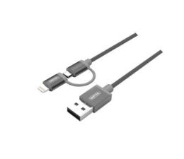 Unitek Kabel micro USB / Lightning 2 w 1 szary MFI (Y-C4031GY)