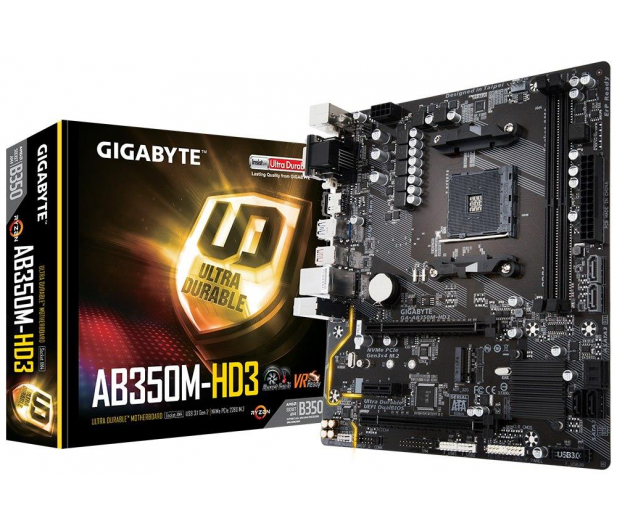Gigabyte GA-AB350M-HD3 (2xPCI-E DDR4 USB 3.1/M.2) - 366634 - zdjęcie