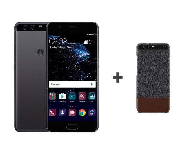 Huawei P10 DS 64GB czarny + Plecki Skóra/Filc ciemnoszary - 359862 - zdjęcie