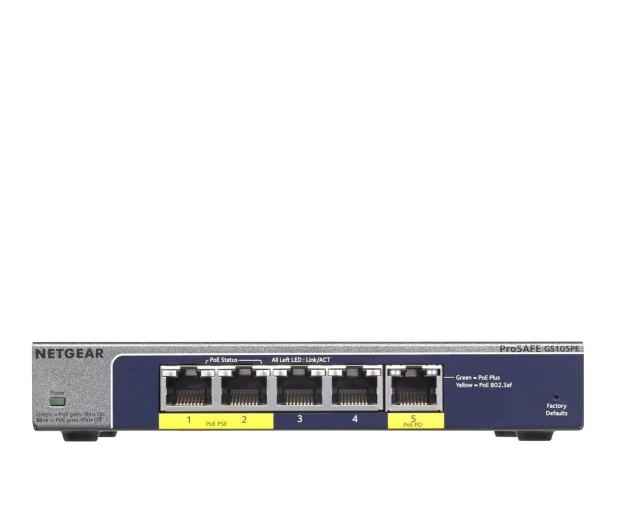 Netgear 5p GS105PE (5x10/100/1000Mbit 2xPoE 1xPoE-PD) - 225876 - zdjęcie