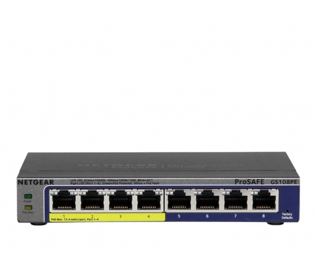 Netgear 8p GS108PE-300EUS (8x10/100/1000Mbit 4xPoE) - 206553 - zdjęcie
