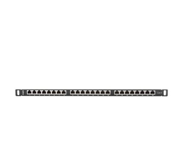 """Lanberg Patchpanel 24p 19"""" 0,5U FTP 6 półka (czarna)  - 457367 - zdjęcie 3"""