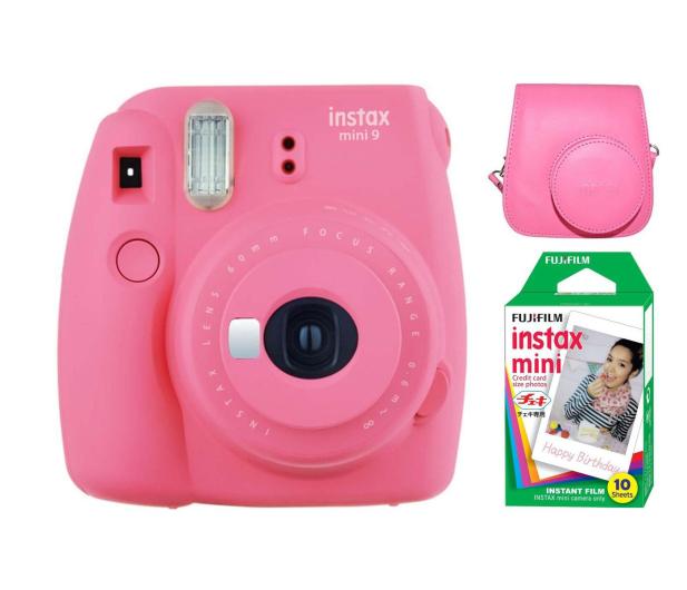 Fujifilm Instax Mini 9 różowy + wkład 10PK + pokrowiec - 393614 - zdjęcie