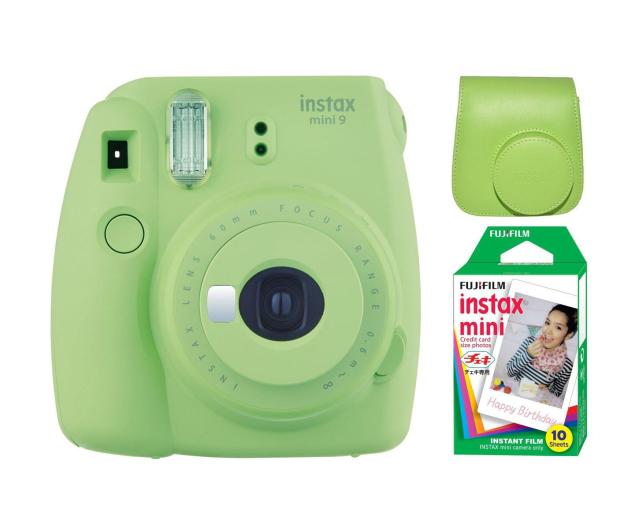 Fujifilm Instax Mini 9 zielony + wkład 10PK + pokrowiec - 393612 - zdjęcie